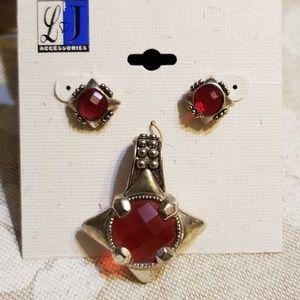 New L&J Ruby Red Pierced Earrings & Pendant